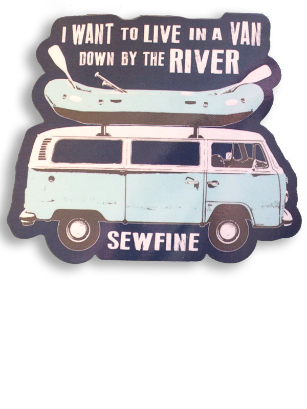 Van down by the river sticker